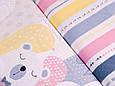 Сатин (бавовняна тканина) сіро-рожеві ведмедики, фото 2