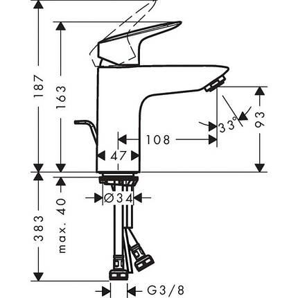Смеситель для умывальника с донным клапаном Hansgrohe Logis 100 71100000, фото 2