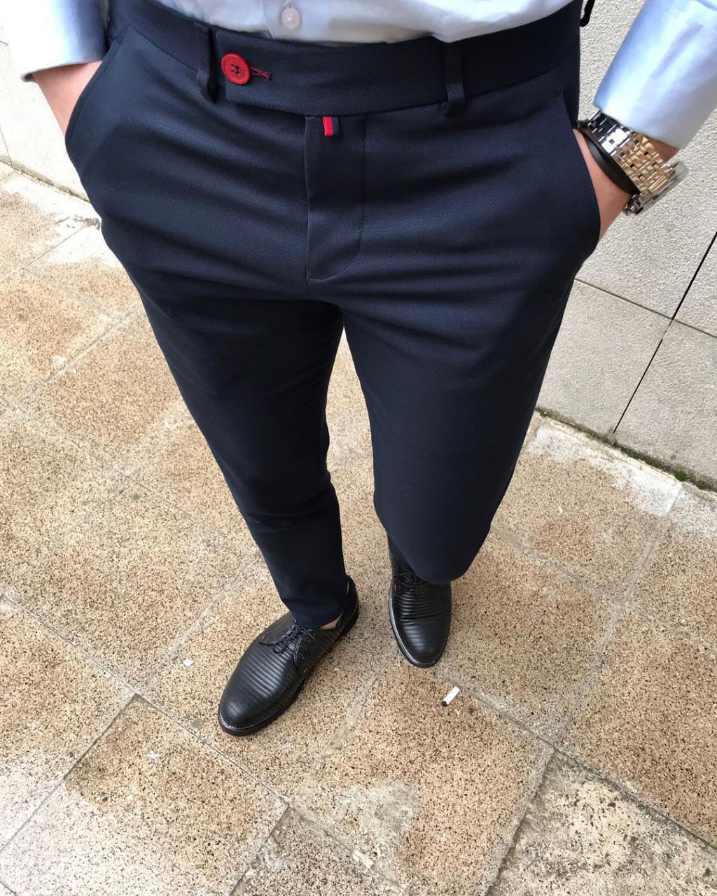 Мужские брюки классические темно-синие Dj2