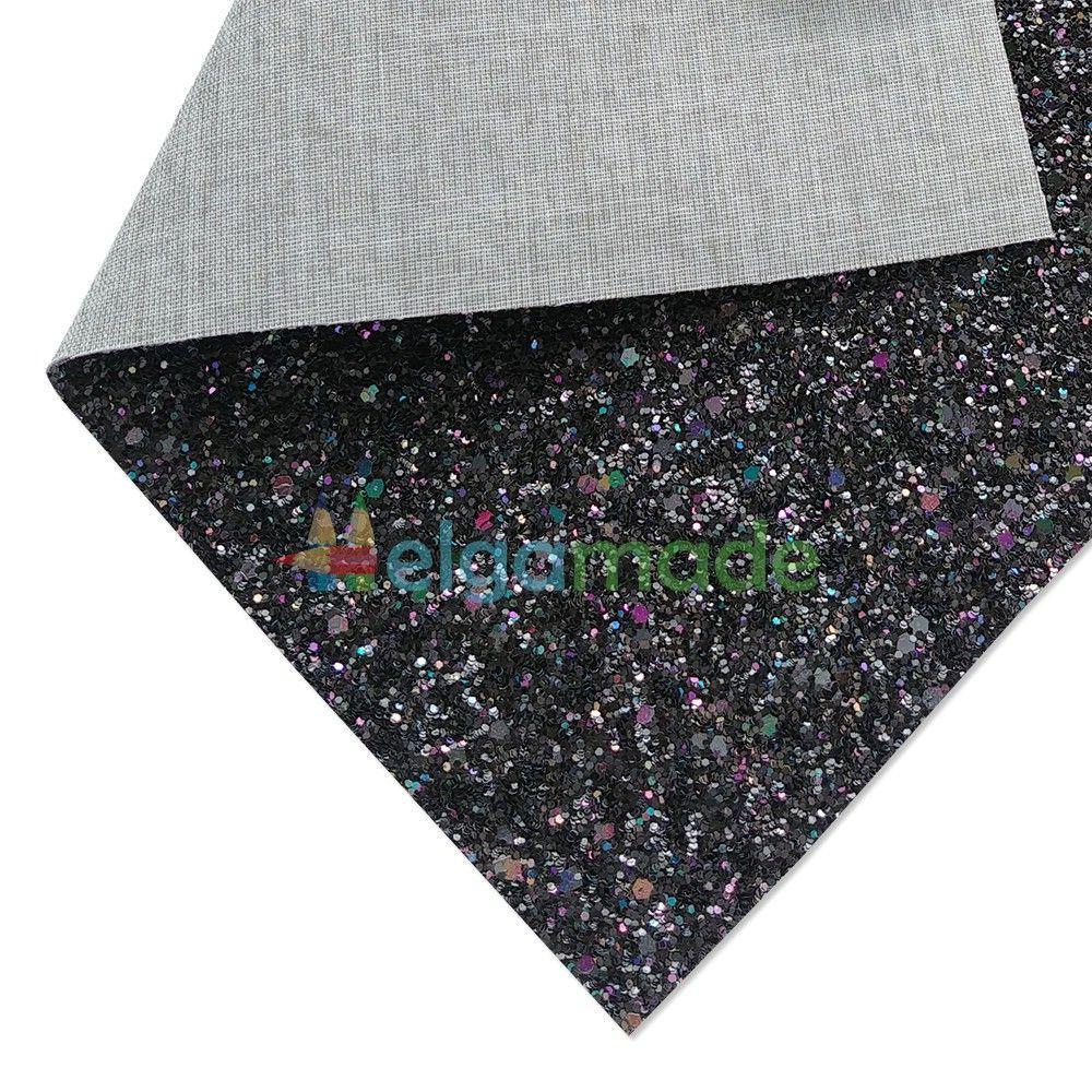 Кожзам с крупными блестками ЧЕРНЫЙ перламутр, 20х27 см, Китай
