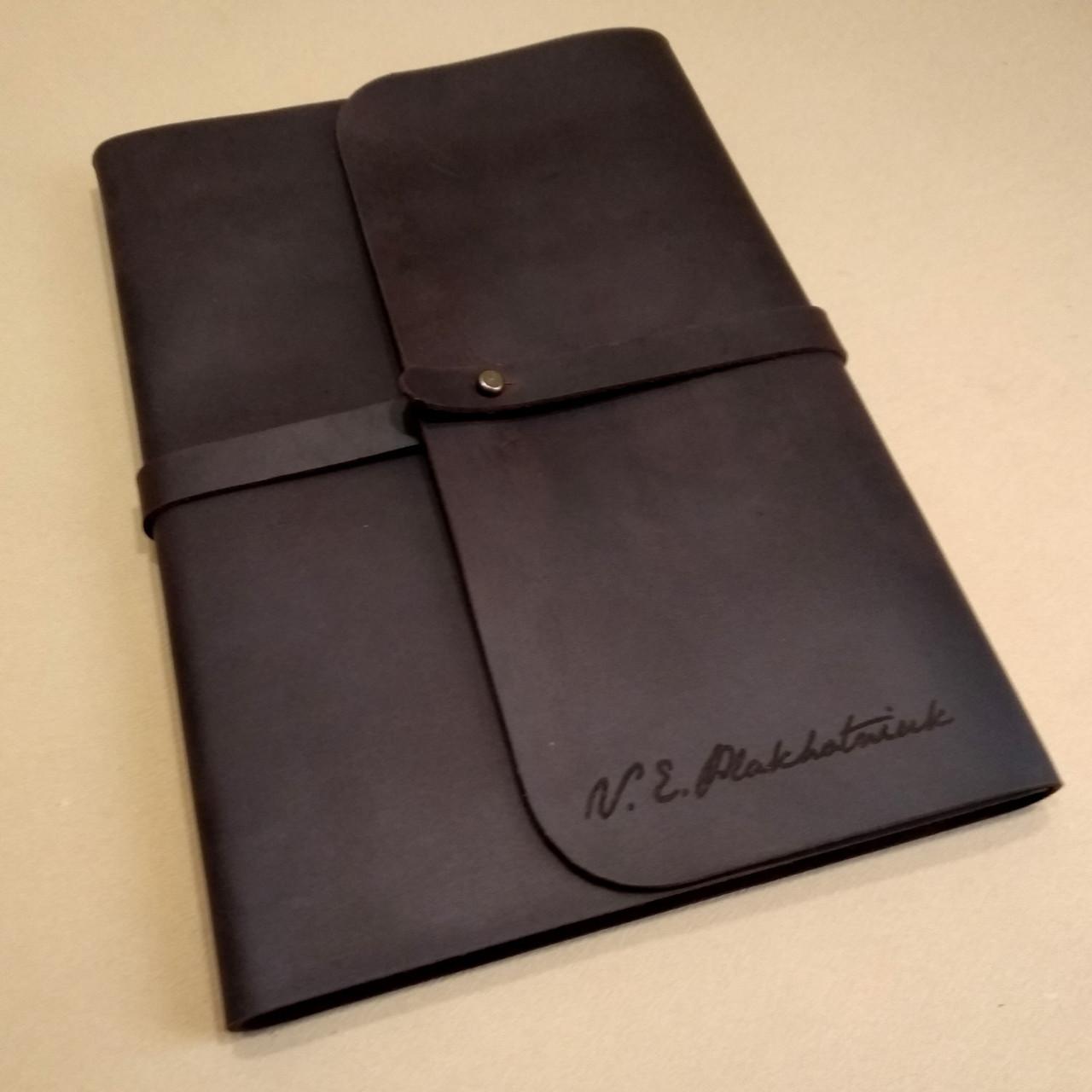 Софтбук А5 с кожаной обложкой и лазерной гравировкой., фото 1