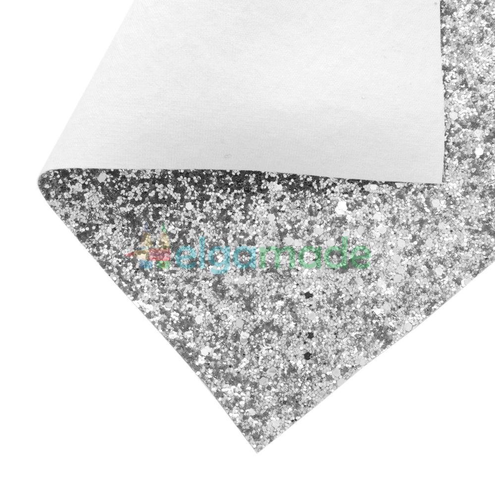 Кожзам с крупными блестками ламинированный СЕРЕБРО, 20х27 см, Китай