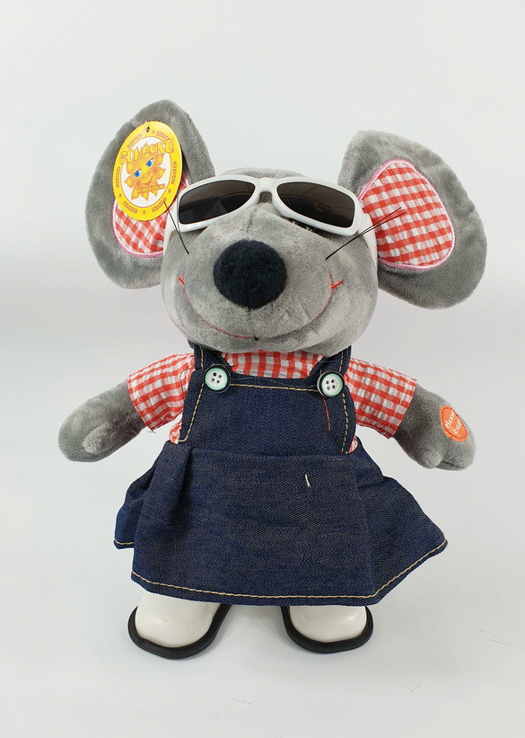 Мягкая игрушка мышь в сарафане и очках девочка 26 см