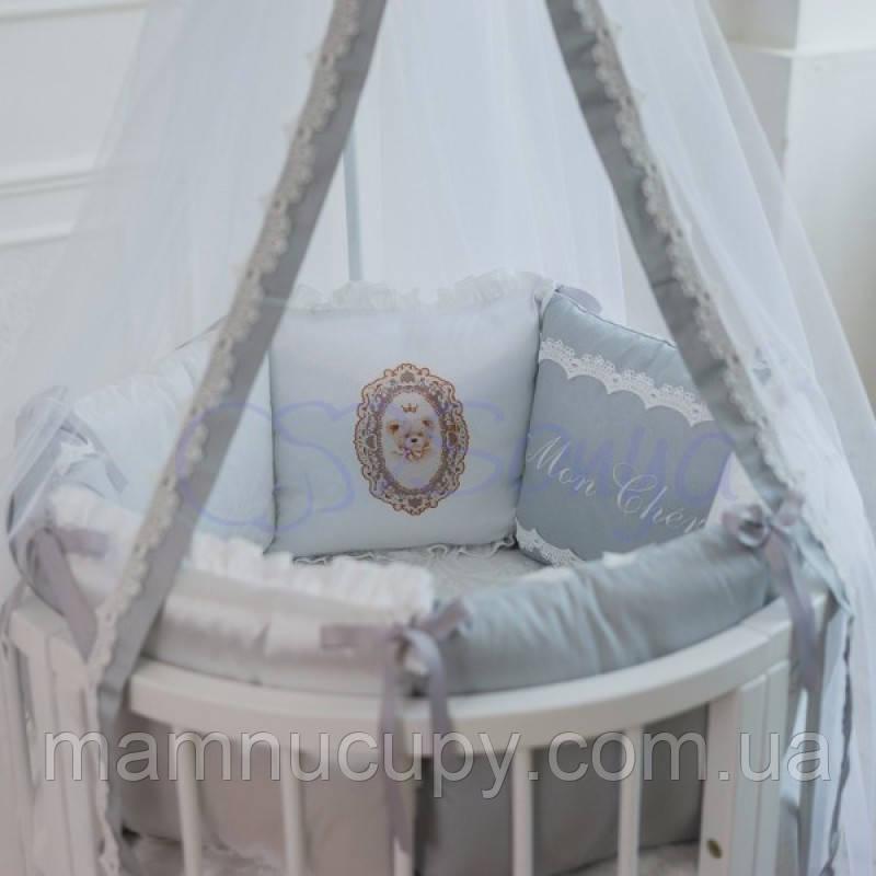 Комплект постельного белья в овальную кроватку Mon Cheri серый ТМ «Маленькая Соня»