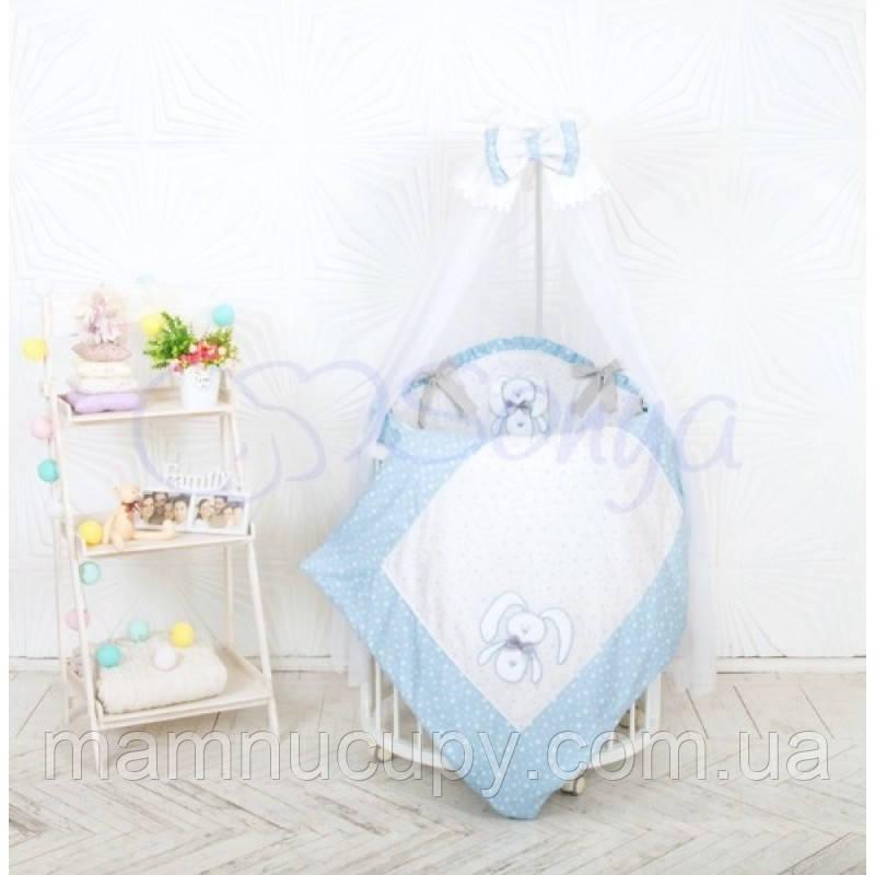 Комплект постельного белья в овальную кроватку Lucky star голубой ТМ «Маленькая Соня»