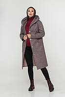 """""""Афелия""""  пальто зима шерсть ник серо-розовый, фото 1"""