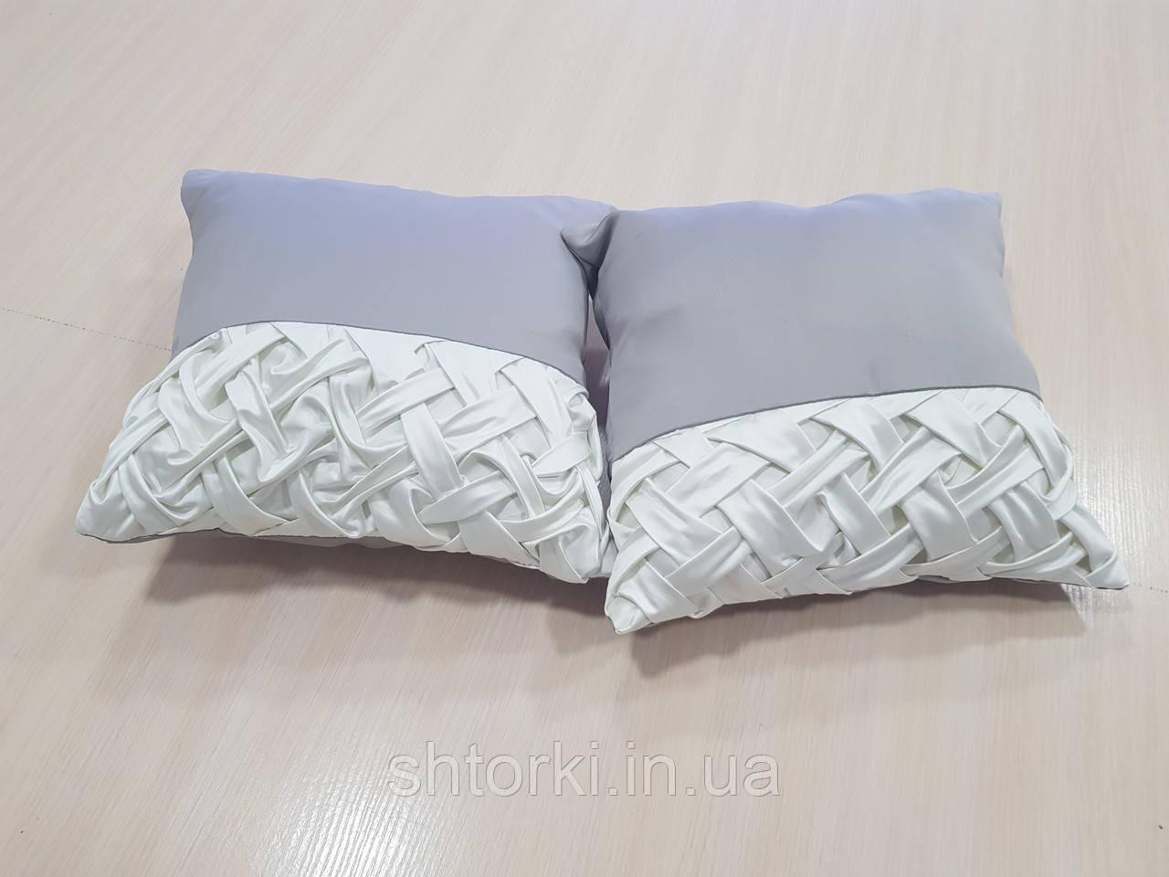 Комплект подушек серые с молочным защипы, 2шт