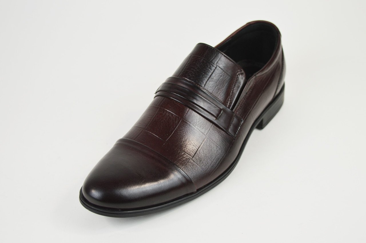 Туфли кожаные мужские бордовые Tapi 6076