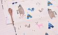 Сатин (хлопковая ткань) медведи индейцы и вигвамы голубые, фото 2
