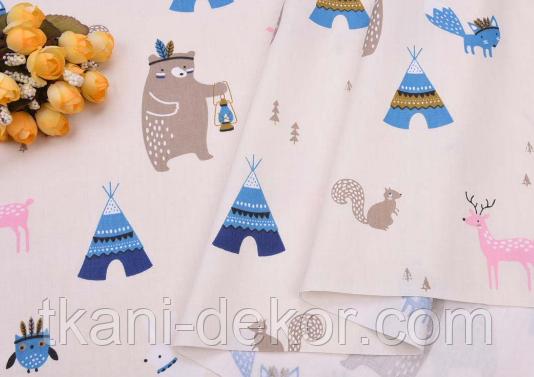 Сатин (хлопковая ткань) медведи индейцы и вигвамы голубые
