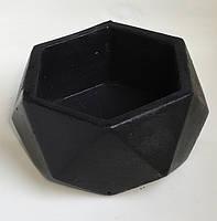 Кашпо из гипса для цветов, растений - гранитно-черный B-03. Горшек для цветов