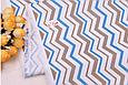 Сатин (хлопковая ткань) зигзаг серый и голубой (компаньон медведи индейцы), фото 2