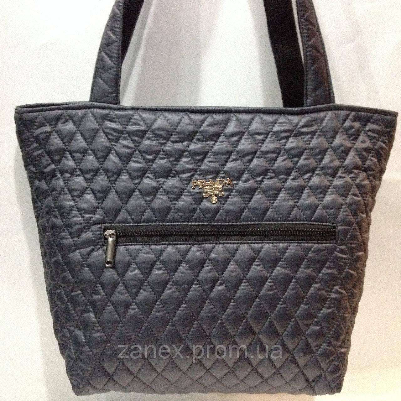 Женская сумка стеганая (серая) Prada