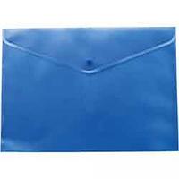 Папка-конверт А4 на кнопці, напівпрозора, синя