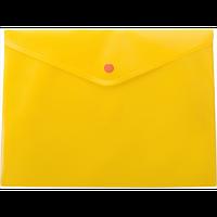 Папка-конверт А4 на кнопці, напівпрозора, жовтий