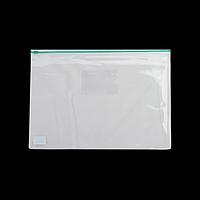 Папка-конверт А5 на блискавці, прозора, зелений