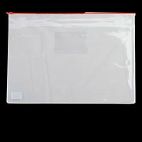 Папка-конверт А5 на блискавці, прозора, червоний