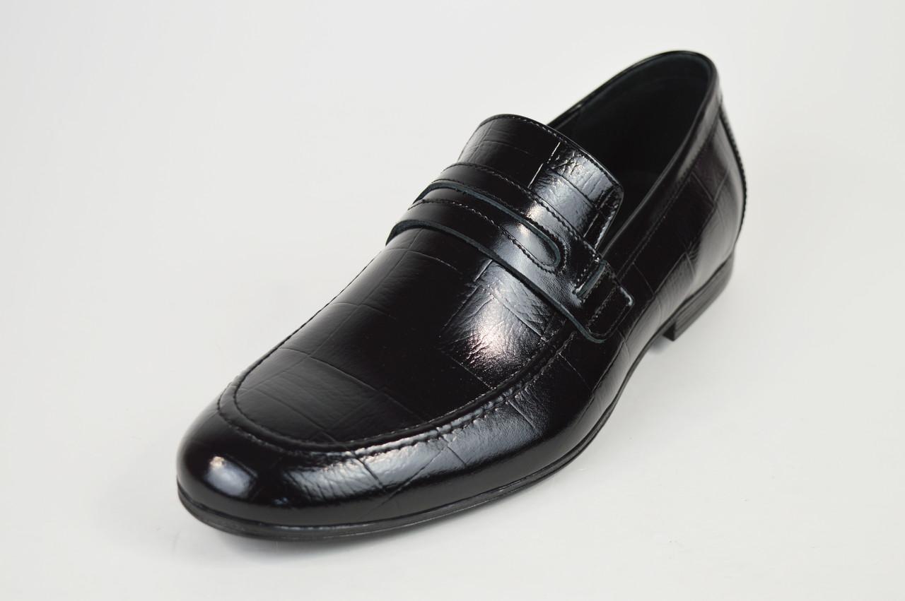 Лоферы мужские кожаные черные Tapi 6360