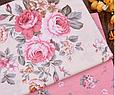Сатин (хлопковая ткань) розы розово-бежевые (новые), фото 4