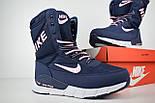 Женские зимние сапоги дутики Nike Zoom с мехом синие с розовым (зимние сапоги). Реплика, фото 2