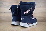 Женские зимние сапоги дутики Nike Zoom с мехом синие с розовым (зимние сапоги). Реплика, фото 7
