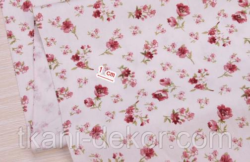 Сатин (бавовняна тканина) троянди червоні дрібні (нова)