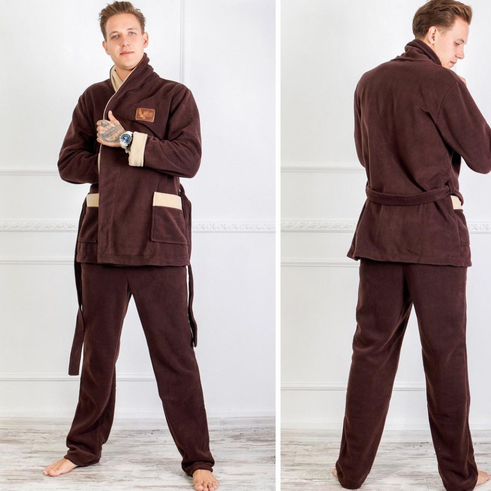 Мужской домашний теплый костюм, мягкий, уютный, модный, до 54 размера