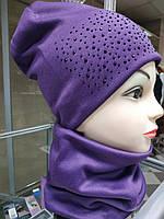 Шапка+хомут осень-весна, фиолетовый, частичная предоплата