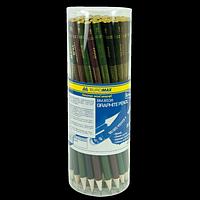 Олівець графітовий BOSS, круглий НВ, ассорті, без ластику, туба