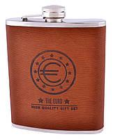 Фляга из нержавеющей стали (кожа) Гранд Презент Евро 18