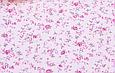 Сатин (бавовняна тканина) трояндочки бузкові з бузковими листочками дрібні, фото 3