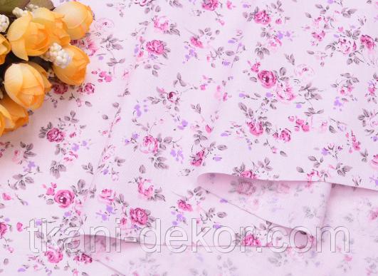 Сатин (бавовняна тканина) трояндочки бузкові з бузковими листочками дрібні