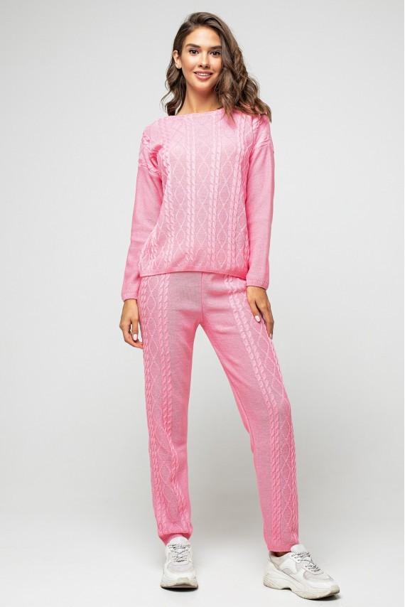 """Вязаный костюм """"Лилия"""" - Розовый"""