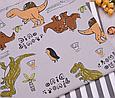 Сатин (хлопковая ткань) динозавры с надписями, пальмы, фото 3
