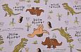 Сатин (бавовняна тканина) динозаври з написами, пальми, фото 2