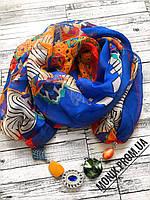Шарф - бусы (шарф с бусами), Синий разноцветный