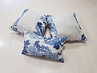 Комплект подушек беж и синий узор, 3шт