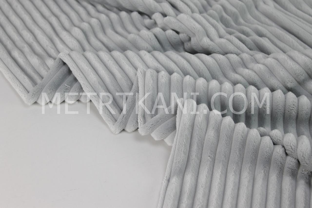 Плюш Minky Stripes светло-серого цвета № с-21