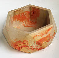 Кашпо из гипса для цветов, растений - оранжевый мраморный O-03. Горшек для цветов