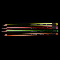 Олівець графітовий NEON НВ трикутний, чорно-неоновий