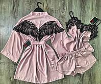 Пудровый комплект тройка для дома, хлопковый набор пижама+халат.