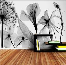 """3D фотообои """"Черно-белые цветы"""""""