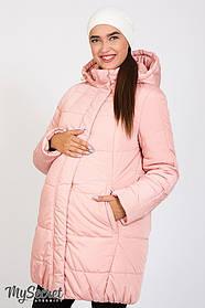 Куртка зимняя нежно-розовая холлософт для бемеременных размеры от 42 до 52