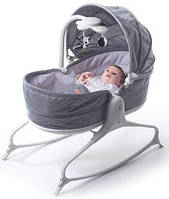 Кроватка-качалка 3 в 1 Tiny Love Мамина любовь с капюшоном, цвет серый