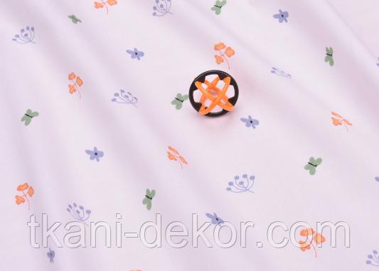 Сатин (хлопковая ткань) бабочки и листики на пудре(компаньон к рыжим лисичкам)
