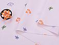 Сатин (хлопковая ткань) бабочки и листики на пудре(компаньон к рыжим лисичкам), фото 3