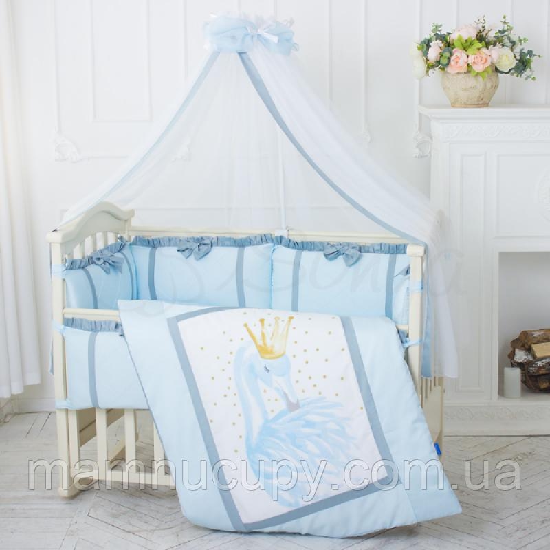 Комплект постельного белья в стандартную кроватку Flamingo голубой ТМ «Маленькая Соня»
