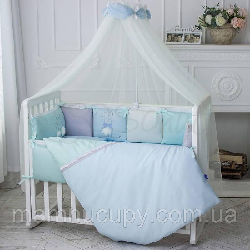 Комплект постельного белья в стандартную кроватку Зайчики голубой ТМ «Маленькая Соня»