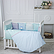 Комплект постельного белья в стандартную кроватку Зайчики голубой ТМ «Маленькая Соня», фото 4