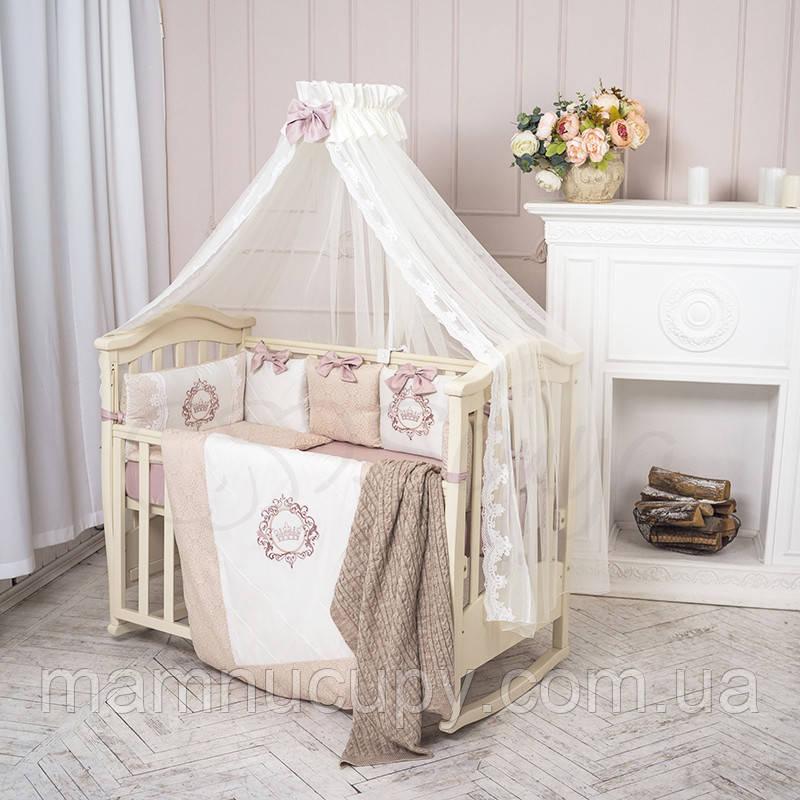 Комплект постельного белья в стандартную кроватку Elegance бежевый ТМ «Маленькая Соня»